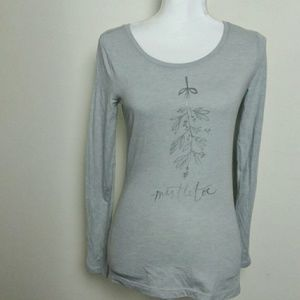 LOFT Outlet Mistletoe Graphic Long Sleeve Top